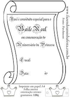 Convite Pergaminho para Baile Real da Princesa! Moldes Limpos e Decorados