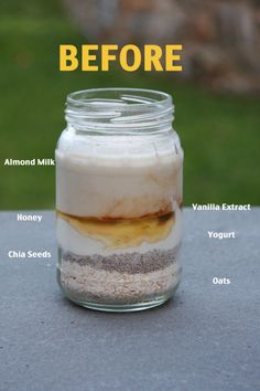 Vanilla Overnight Oats – I have made this two days in a row now. Both hubby and … Vanilla Overnight Oats – I have made this two days in a row now. Both hubby and I REALLY like it! Vanilla Overnight Oats // 24 Carrot Life Replace almond milk with ric Overnight Oats Vanilla, Overnight Oatmeal, Overnight Oats Greek Yogurt, Chia Seed Overnight Oats, Healthy Overnight Oats, Basic Overnight Oats Recipe, Rolled Oats Recipe, Overnight Breakfast, Breakfast And Brunch