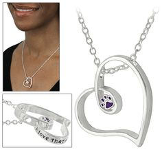 A Love That Never Ends Purple Paw Necklace - Every Purchase Funds Food and Care for Rescued Animals.