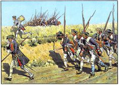 Prussian infantry advancing to meet the Russian Army at Zorndorf (1758).