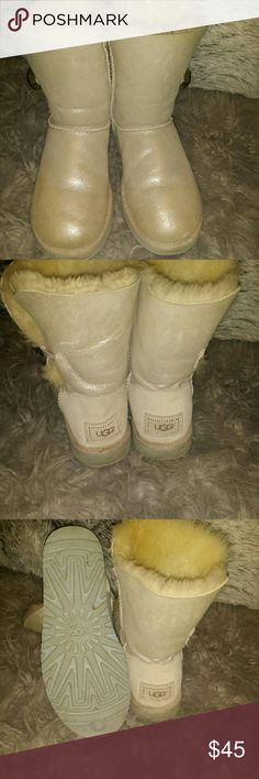 Baily Button Uggs Real Uggs. Preposh, I just didn't really like them. They are kind of dirty, but can be cleaned. There is a little tear on the back of the left boot, not noticeable. UGG Shoes Ankle Boots & Booties
