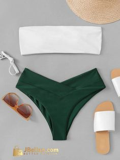 Shop Two Tone Top With High Leg Bikini Set online. ROMWE offers Two Tone Top With High Leg Bikini Set & more to fit your fashionable needs.To find out about the Two Tone Top With High Leg Bikini Set at SHEIN, part of our latest Bikinis ready to shop Cute Swimsuits, Cute Bikinis, Women Swimsuits, Summer Bathing Suits, Cute Bathing Suits, Bandeau Bikini, Bikini Swimwear, Romwe Swimwear, Gold Swimsuit