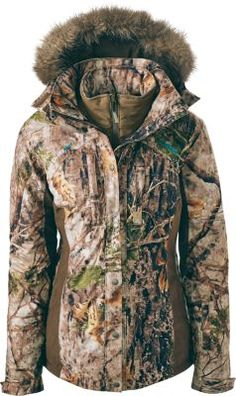 Cabela's OutfitHER® Dry-Plus® 4-in-1 Parka. Removable liner jacket. Camo patterns: Mossy Oak® Shadow Grass Blades®, Realtree XTRA®, Cabela's Zonz™ Woodlands.