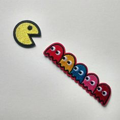 Embroidered Pacman Ghost Game Hotfix Iron On Patch Applique Gift Toys<<< @ Michael Mell Pin And Patches, Iron On Patches, Jacket Patches, Ghost Games, Mahal Kita, Be More Chill Musical, Michael Mell, Custom Embroidered Patches, Retro Aesthetic