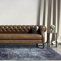 Louis De Poortere Rug in Brooklyn Blue. Part of the Mad Men Collection. Chevron Rugs, Geometric Rug, Dark Blue Rug, Contemporary Carpet, Masculine Interior, Jacob's Ladder, Living Room Sofa, Leather Sofa, Brown Leather