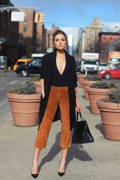 Olivia Culpo The former Miss Universe hits New York Fashion Week in a black Express trench that's currently on sale for $89, Express v-neck bodysuit ($24) and suede culottes that are available in select Express stores.