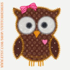 Owl machine embroidery applique set.  This Accuquilt die is a JoAnn fabric store exclusive. There are 6 designs in the set. Can be used with the Accuquilt GO!(TM) OWL (55333) or can be cut by hand using the templates provided.