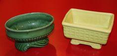 2-Vintage-Flower-Plant-PLANTERS-American-Art-Pottery-McCoy?-Green-Yellow