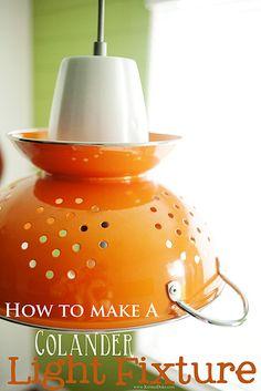 How to make a Colander Light Fixture {DIY} #kitchen #decor || KristenDuke.com