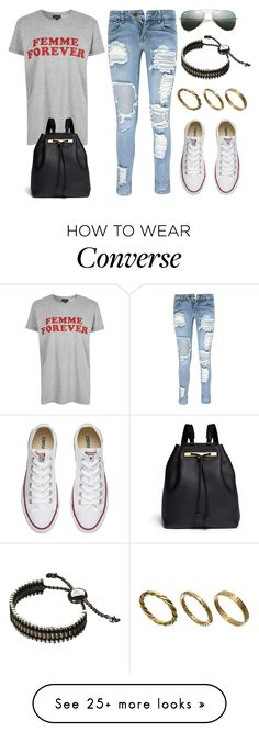 """""""Sin título #12910"""" by vany-alvarado on Polyvore featuring Boohoo, Topshop, Converse, Ray-Ban, The Row, Links of London and Made"""