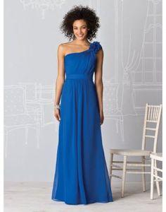 Chiffon One Shoulder Pleats Appliques Blue Bridesmaid Dress