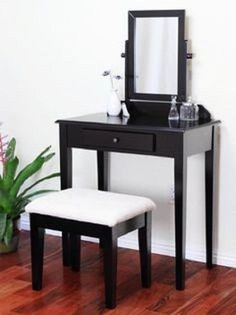 Vanity Table and Stool Expresso Finish Beige Seat Makeup Station Jewelry Drawers