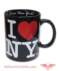 7129f6bf5e I Love NY Black Coffee Mug with I Love New York Ins