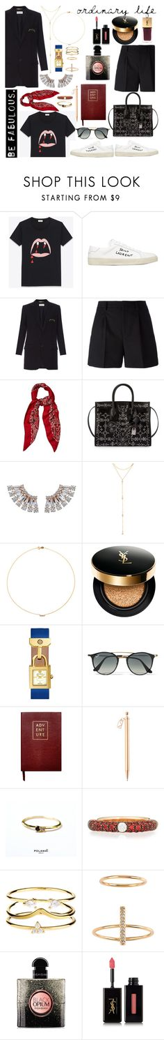 """Untitled #873"" by adda21 ❤ liked on Polyvore featuring Yves Saint Laurent, Fragments, Sole Society, Tory Burch, Ray-Ban, Sloane Stationery, Adolfo Courrier, Accessorize and Billabong"