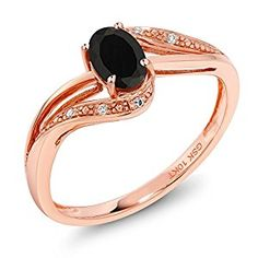 10K Rose Gold 0.43 Ct Black Onyx and Diamond Engagement Ring (Available in size 5 6 7 8 9)