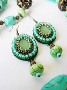 Green Turquoise Beadwork earrings Bead embroidery earrings Spring jewelry Green Turquoise Copper MADE TO ORDER