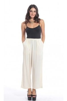 Big Fall Trend: Wide Leg Pants. Pair these white ones with all white for that trendy monochrome look.