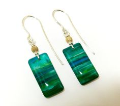 Original art jewelry Unique hand painted green and blue resin earrings with 14 carat gold filled frosted beads and sterling silver findings