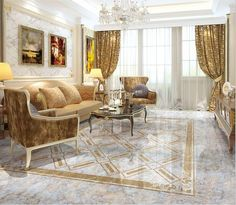 Gold Living Room With An Grey Marble Floor Interior Naturalstone