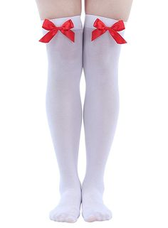 d7b5cdbfe White with Red Bows stockings thigh high hold ups Fancy Dress Costume  Accessories: Amazon.