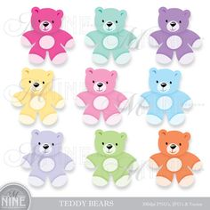 BABY Clip Art TEDDY BEAR Clipart Vector Art File, Instant Download, 9 Coloful Teddy Bear Illustrations Graphics