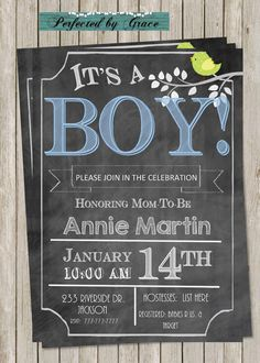 DIY Printable Chalk Board with Boy Baby Shower by PerfectedbyGrace