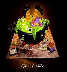 Witch cake in cauldron