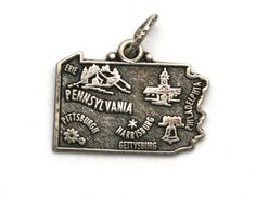 Pennsylvania State Bracelet Charm Vintage Maisel's Sterling Silver Map by SterlingRevival on Etsy