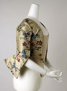 Bodice (side view showing upturned cuff detail) 1775-1799, American or European, embroidered damask (?) (c) Metropolitan Museum of Art