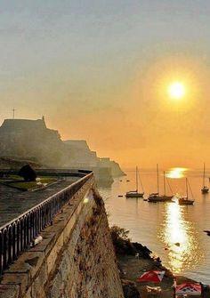 Corfu Town, Corfu, Greece, at Sunset . Corfu Greece, Mykonos Greece, Athens Greece, Santorini, Places To Travel, Places To Visit, Travel Destinations, Corfu Town, Corfu Island