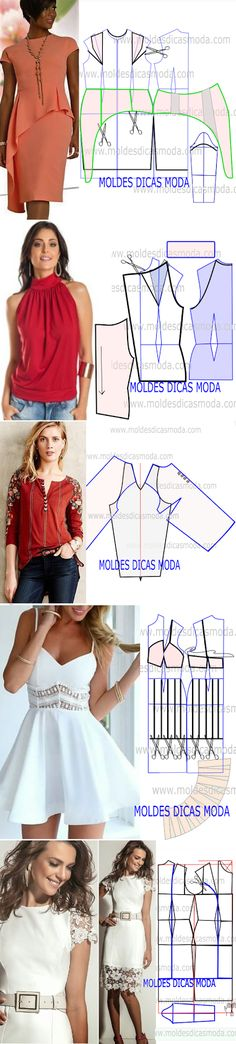 53 Ideas Sewing Patterns Free Tops Blouses For 2020 Dress Sewing Patterns, Sewing Patterns Free, Sewing Tutorials, Clothing Patterns, Sewing Projects, Diy Clothing, Sewing Clothes, Diy Dress, Pattern Fashion