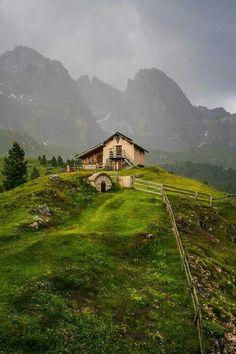 Mountain cabin. Dolomites. Italy.