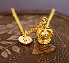 Crown Necklace, Custom Initial Necklace, Personalized Necklace, Engraved Necklace, Crown Charm Necklace, Monogram Necklace, Gold Necklace by MetalSpeak on Etsy https://www.etsy.com/listing/188015742/crown-necklace-custom-initial-necklace