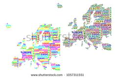 Sketch Europe letter text continent, Europe word - in the shape of the continent, Map of continent Europe - color vector illustration Map Of Continents, Color Vector, Sketch, Europe, Shapes, Stock Photos, Lettering, Words, Illustration