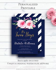 Navy Blue Boy Twins Baby Shower with fascinating and elegant watercolor floral design in boho and vintage style by Amistyle Art Studio on Etsy Printable Invitations, Baby Shower Invitations, Birthday Invitations, Invites, 80th Birthday Cards, Birthday Images, Elegant Birthday Party, Blue Birthday, Vintage Style