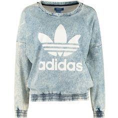 adidas Originals Sweatshirt blau (1.675 UYU) ❤ liked on Polyvore featuring tops, hoodies, sweatshirts, sweaters, shirts, shirt top, blue shirt, cotton shirts, sleeve shirt and blue top