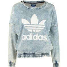 adidas Originals Sweatshirt blau ($69) ❤ liked on Polyvore featuring tops, hoodies, sweatshirts, sweaters, shirts, long sleeves, long sleeve collared shirt, sleeve shirt, earl sweatshirt shirt and blue sweatshirt