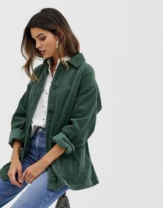 Browse online for the newest ASOS DESIGN cord belted jacket styles. Shop easier with ASOS' multiple payments and return options (Ts&Cs apply). Mode Outfits, Fall Outfits, Fashion Outfits, Hijab Fashion, Summer Outfits, Look Blazer, Cute Casual Outfits, Casual Clothes, Casual Wear