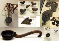 (Scotland) Inverness Museum - a medieval spindle worn to protect against the evil eye, center, elf's arrow pendant made from a pre-historic flint, protection against faeries, once believed to be made by faeries who weren't able to use metals. Wiccan, Magick, Medieval Fantasy, Medieval Life, Charmed Spells, Traditional Witchcraft, Eye Center, Love Fairy, Amulets