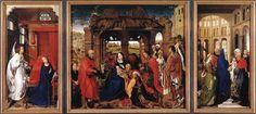 """""""Tríptico del altar de Santa Columba"""" de Rogier van der Weyden (1455). Ubicado en la Pinacoteca Antigua de Múnich, en Múnich, Alemania."""