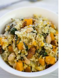 Risotto with pumpkin, spinach, cannellini beans & walnuts - MediterrAsian.com