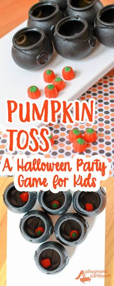 Work on fine and gross motor skills with play! A perfect addition to any preschool Halloween party or October child's birthday party, this simple game is fun for kids of all ages. | Pumpkins | Halloween | Party Games | Preschool | Games for Kids |