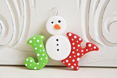 Snowman joy ornament in Polymer clay
