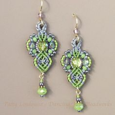 Macrame Earrings Glass Seed Beads and Micro Macrame by glassdancer.