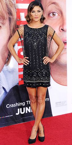 JESSICA SZOHR Jessica is wearing one of the most exciting LBDs weve seen in a while – this Haute Hippie number with chain detailing on the sleeves and metallic embroidery. She keeps the footwear simple with black Chanel pumps at the premiere of The Internship in L.A.