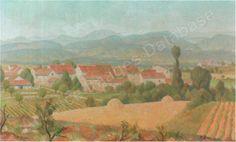 sudliche landschaft mit kleinem dorf Canvas, Artist, Artwork, Painting, Landscape, Tela, Work Of Art, Auguste Rodin Artwork, Artists