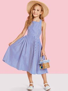 Shop Girls Criss Cross Back Boxed Pleated Stripe Dress online. SHEIN offers Girls Criss Cross Back Boxed Pleated Stripe Dress & more to fit your fashionable needs. Blue Fashion, Look Fashion, Kids Fashion, Dress Backs, Dress Up, Dress Girl, Dress Clothes, Girl Outfits, Cute Outfits