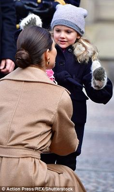 Princess Estelle, five, and her one-year-old brother Prince Oscar stole the show as they joined their parentsCrown Princess Victoria and Prince Daniel for an official engagement in Stockholm today.
