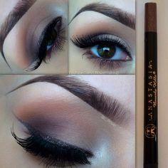 Mac brule & handwritten eyeshadows. Liner @anastasiabeverlyhills WATERPROOF eyeliner in lavish. - @c_flower