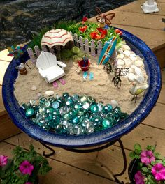 fairy garden Beach Fairy Garden, Fairy Garden Doors, Mini Fairy Garden, Fairy Gardens, Mud Kitchen For Kids, Jungle Crafts, Rainforest Habitat, Dish Garden, Fairy Furniture